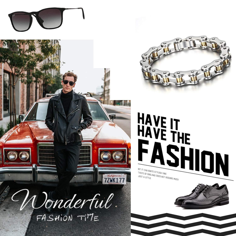 Cupimatch Luxury Mens Heavy Stainless Steel Biker Motorcycle Chain Bracelet Link Wristband