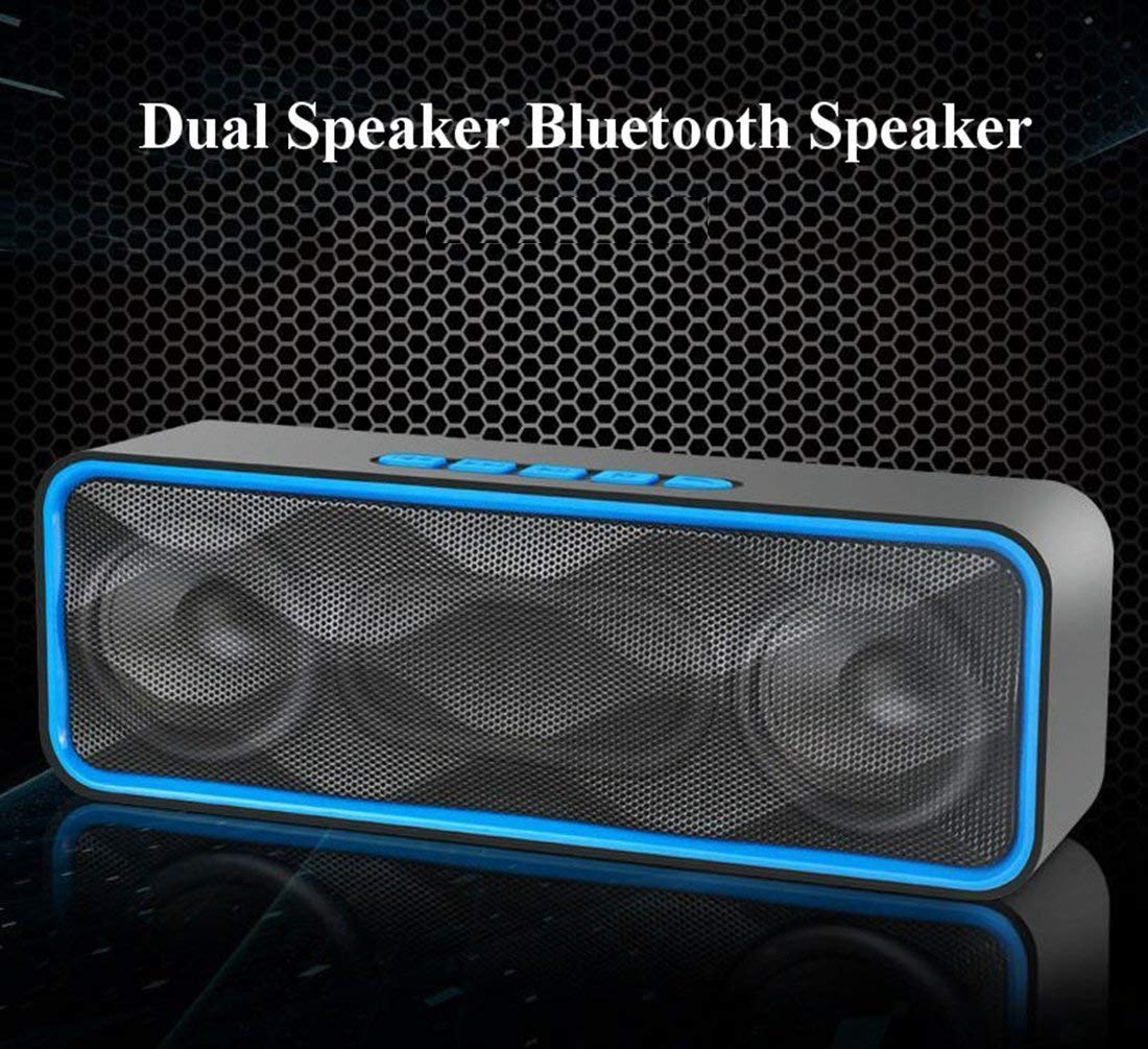 MANCASSY N7 Wireless Bluetooth Speaker, Outdoor Portable Stereo Speaker with HD Audio and Enhanced Bass, Built-In Dual Driver Speakerphone, FM Radio and TF Card Slot (Blue) by MANCASSY (Image #7)