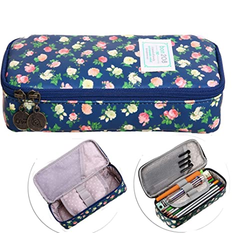 0a71ebe531c5 Bonaweite Cute Floral Pencil Case Bags, Office Stationer Pouch, Large  Capacity Pen Holder, Multifunction Cosmetic Makeup Bag Organizer with  Zipper for ...