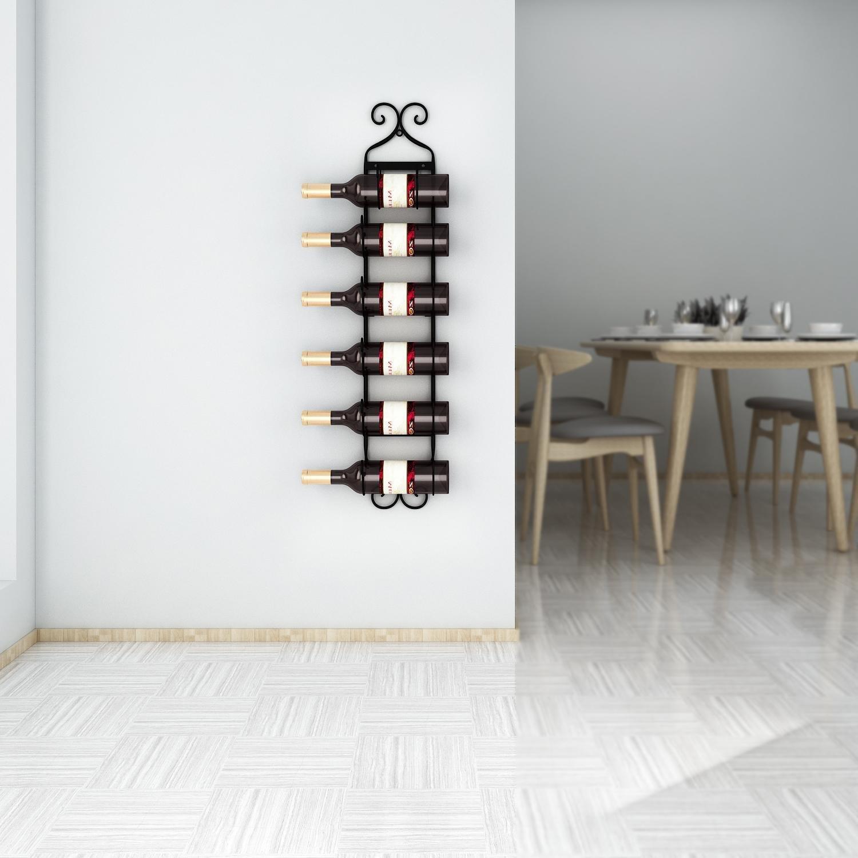 Leoneva Multi-Purpose Wall Mount Metal Wine/Towel Rack (6 Hooks) (Black)