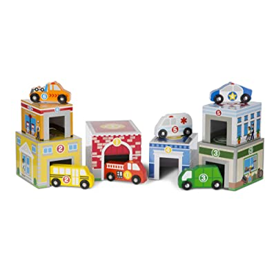 Melissa & Doug 13576 Nesting and Sorting Buildings Set with 6 Wooden Vehicles Toy, Multi-Colour: Toys & Games