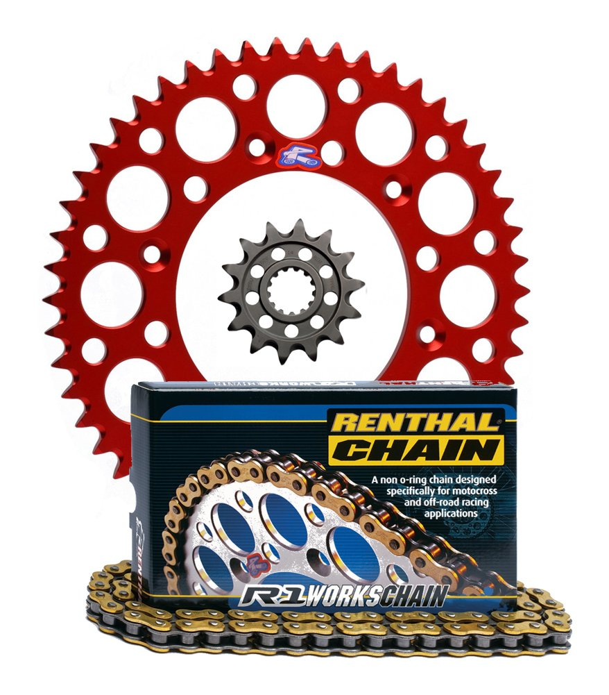 Renthal Ultralight Front & Rear Sprockets & R1 MX Works Chain Kit - 13/48 RED - Honda CRF450R, CRF450X