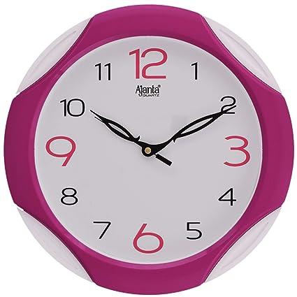Ajanta Plastic Sweep Clock (28 cm x 28 cm x 3.5 cm, Pink)