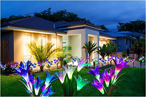 MCNICK COMPANY 3 Pack – Outdoor Solar Powered LED Artificial Lily Flowers Garden Lights Lawn Ornament Decoration