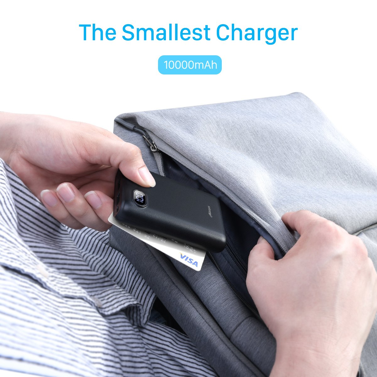 10000mAh Portable Charger,(Smallest) (LCD Display) (Powerful) Ainope External Battery Pack/Battery Charger/Phone Backup Power Bank with Dual USB Output(3.1A),Perfect Carry for Travel-Black by Ainope (Image #3)