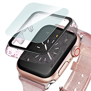 Ritastar Bumper Protector for Apple Watch Case with Screen Protector 40mm HD Clear Thin Tempered Glass Slim Hard PC Protective Cover Built-in Bling Glitters Shockproof for iWatch Series SE 6 5 4,Rose Pink