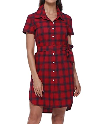 Gamiss Women S Short Sleeve Flannel Plaid Shirts Casual Button Down