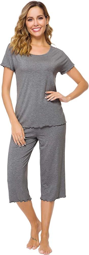 WiWi Womens Soft Bamboo Pajamas Top with Pants Pjs Half Sleeves Sleepwear Lightweight Plus Size Pajama Set S-4X
