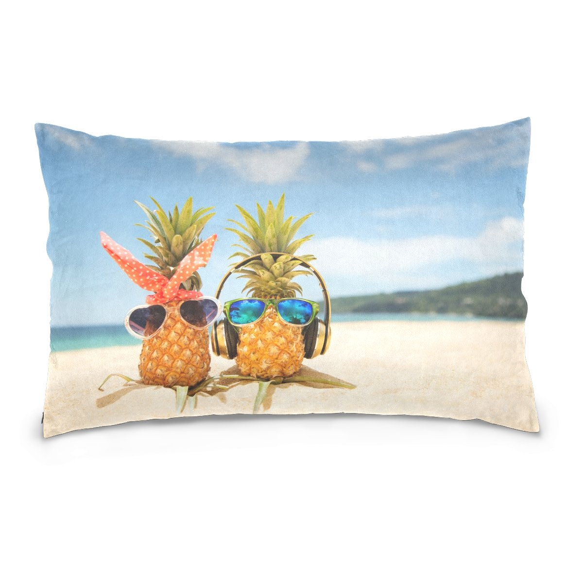 Top Carpenter Pineapples Love Velvet Oblong Lumbar Plush Throw Pillow Cover/Shams Cushion Case - 16x24in - Decorative Invisible Zipper Design for Couch Sofa Pillowcase Only