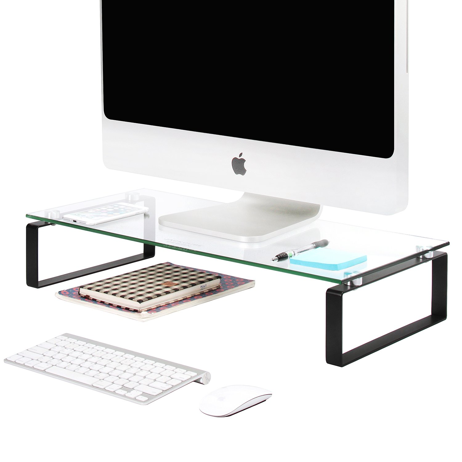 JackCubeDesign Tempered Glass Monitor Stand Computer Desktop Laptop Riser Holder Shelf Notebook Organizer with Black Steel Support(23.43 x 10.87 x 4.53 inches)-:MK315A