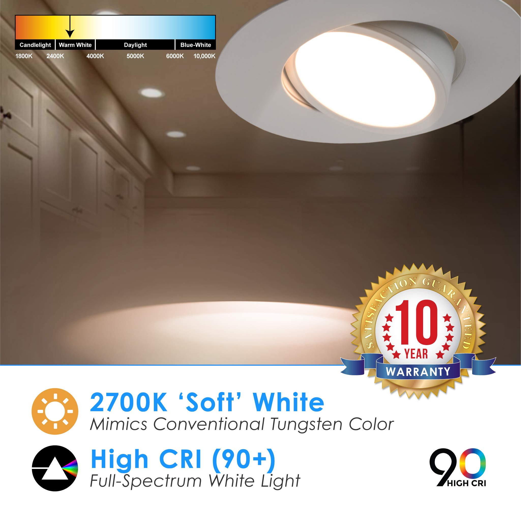 5/6'' inch LED Gimbal Adjustable Rotating Downlight White Trim 16.5W= (100w Equivalent) Damp Location Rated; 25,000 Life Hours; Dimmable to 5%; 5 YR Warranty; 1200 Lumens; Soft White 2700K- (16 Pack) by QUEST MANUFACTURING (Image #3)
