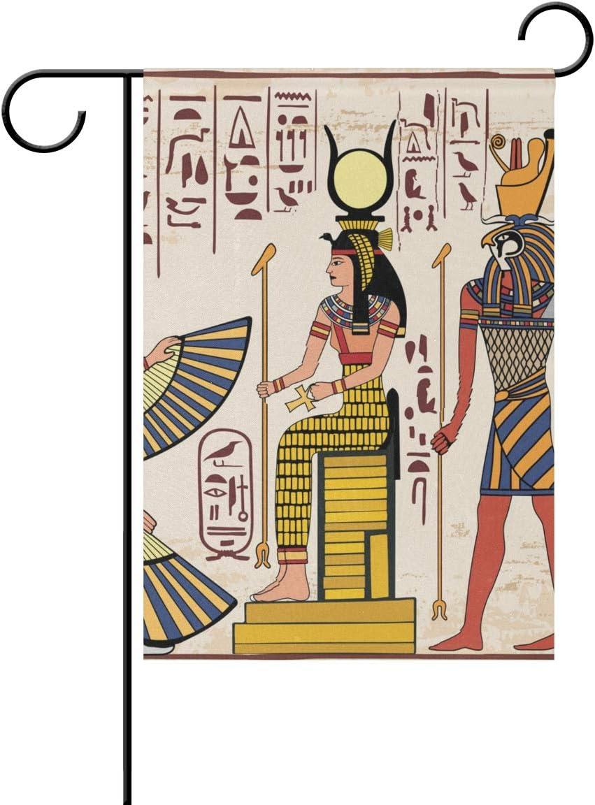 Jessgirl Bandera de jardín Vintage para Exteriores Patrón Egipcio Antiguo 12x18 Pulgadas Temporada Patio de Doble Cara Granja Patio Decoración Moderna