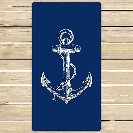 Custom Blue Anchor Towels,Nautical Navy Blue Anchor Beach Bath Towels  Bathroom Body Shower Towel