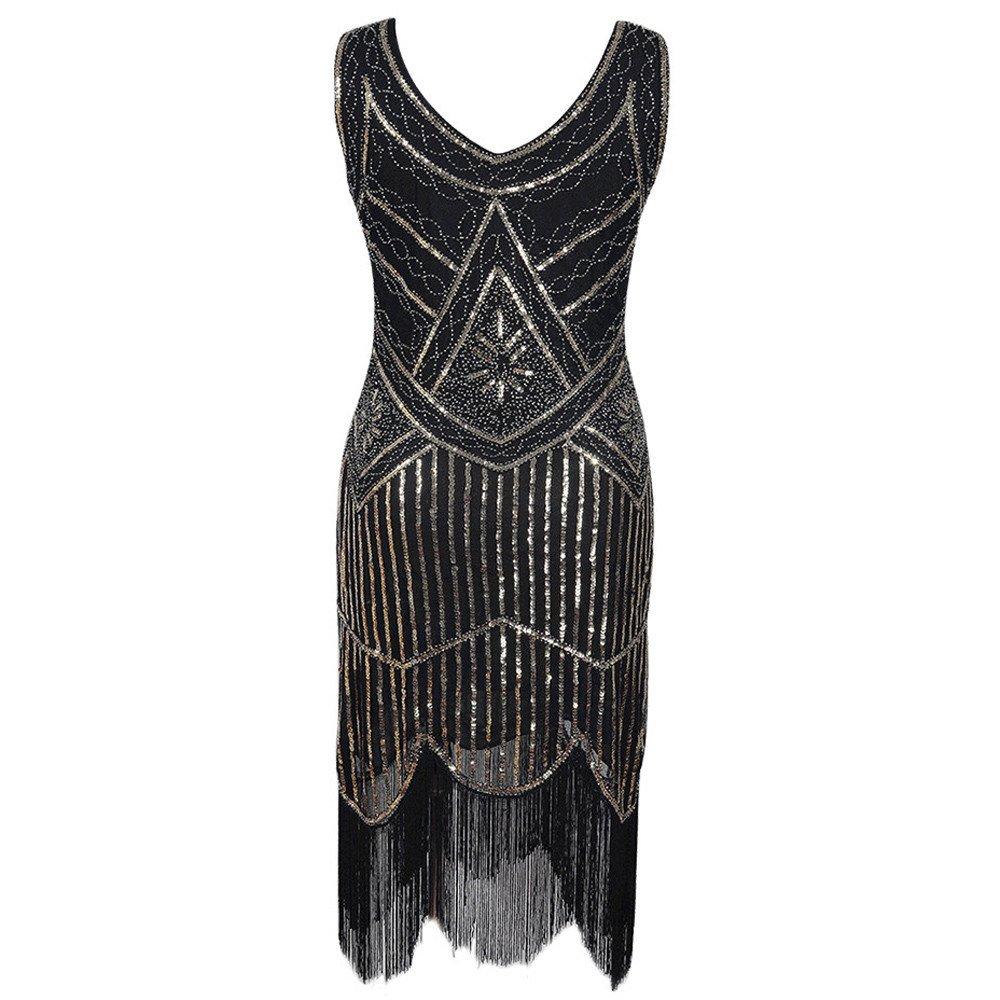 Ulanda Womens Vintage 1920s Sequin Beaded Tassels Party Dress Sequin Nouveau Embellished Fringed Flapper Dresses