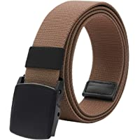"Elastic Belt for Men, Stretch Canvas Belt with YKK Plastic Buckle, Breathable Waist Belt for Work Outdoor Cycling Hiking, Adjustable for Pants Size Below 46inches[53""Long1.5""Wide]"