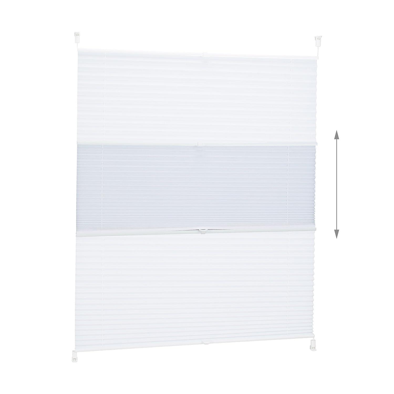 Bianco 80 x 130 cm Poliestere Relaxdays 10021308/_742 Tenda a Rullo Plissettata