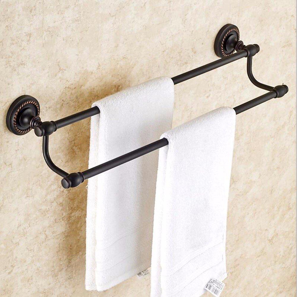 LHbox Tap Antike Handtuchhalter voll Kupfer Schwarz Double Bar Handtuchhalter Badezimmer Wand im Retro-Look Bad Handtuchhalter, Kupfer, Bohren zu installieren 50 cm