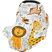 Tropical Animals Nursing Cover for Breastfeeding Super Soft Cotton Coloring Lions Multi Use for Baby Car Seat Covers…