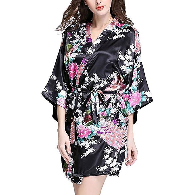 Hammia Mujer Vestido Kimono Corto Pijama Bata Satén Estampado Flores Ropa de Dormir 3/4 Manga con Cinturón Elegante Pijama: Amazon.es: Ropa y accesorios