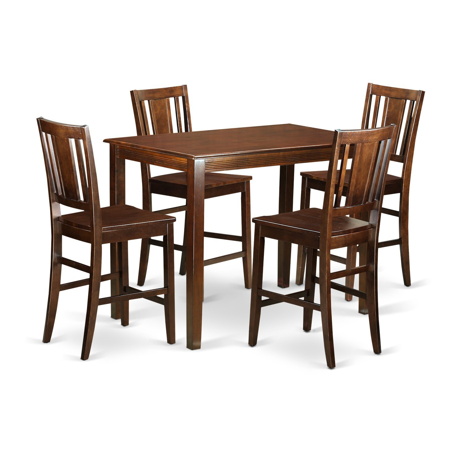 Amazon.com: East West Furniture YABU5 MAH W 5 Piece Counter Height High  Table And 4 Kitchen Chairs Set: Kitchen U0026 Dining