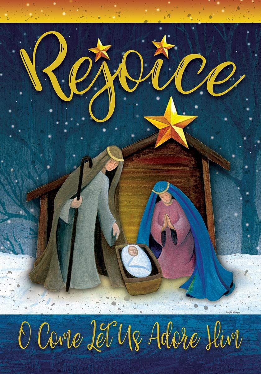Custom Decor Rejoice Manger - Nativity - Garden Size, Decorative Double Sided, Licensed and Copyrighted Flag - Printed in The USA Inc. - 12 Inch X 18 Inch Approx. Size