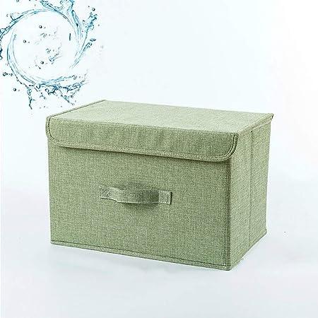 Heze Caja de Almacenamiento Gruesa Plegable para Ropa en General, Funda de Lino de algodón con asa Caja de Almacenamiento, algodón y Forro, Color Verde Lavable, 26 * 20 * 17cm: Amazon.es: Hogar