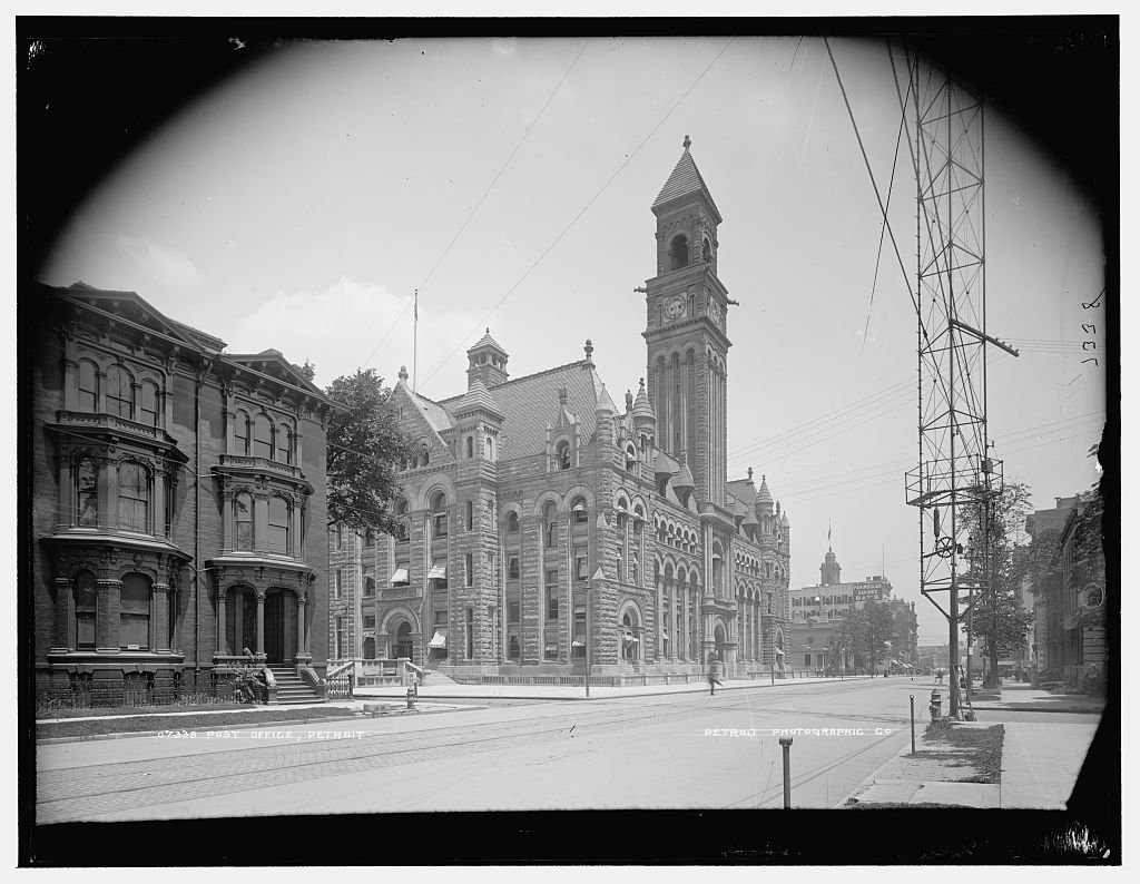 Vintography 40 x 30 Ready to Hang Canvas Wrap Post Office Detroit 1890 Detriot Publishing 89a