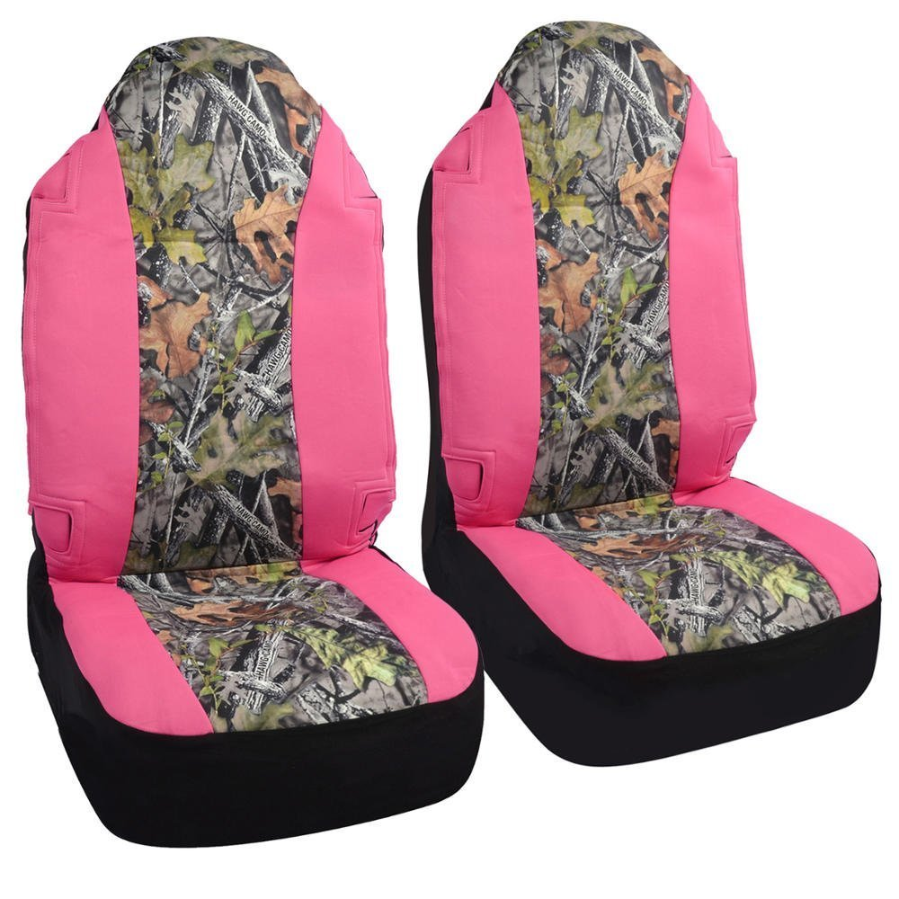 CarsCover Real Pink Camo Seat Covers Maple Forest Tree Leaf Pattern Camouflage For Auto Truck Car