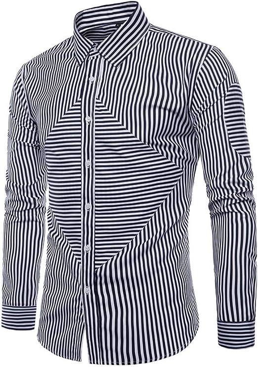 Usopu Mens Casual//Daily Geometric Striped Polyester Long Sleeve Shirt