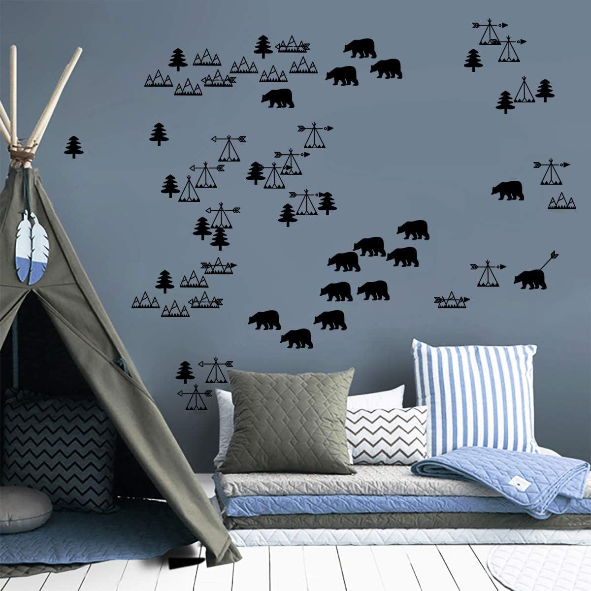 ufengke Nordic Woodland Animals Wall Stickers Bears Tree Wall Decals Nursery Wall Art Decor for Kids Bedroom Living Room