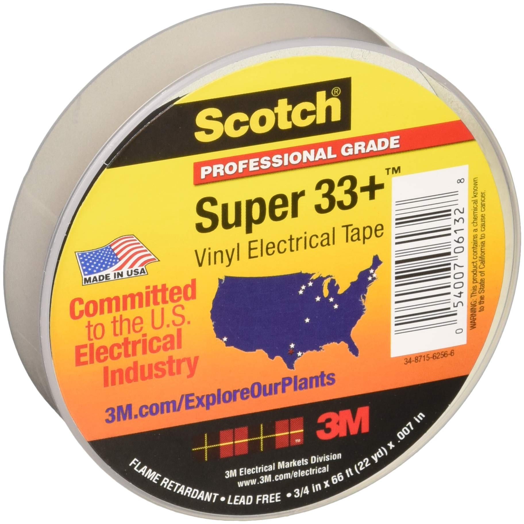 3M 06132 Scotch Super 33+ Cinta Eléctrica de Vinilo, 19 mm x 20 m