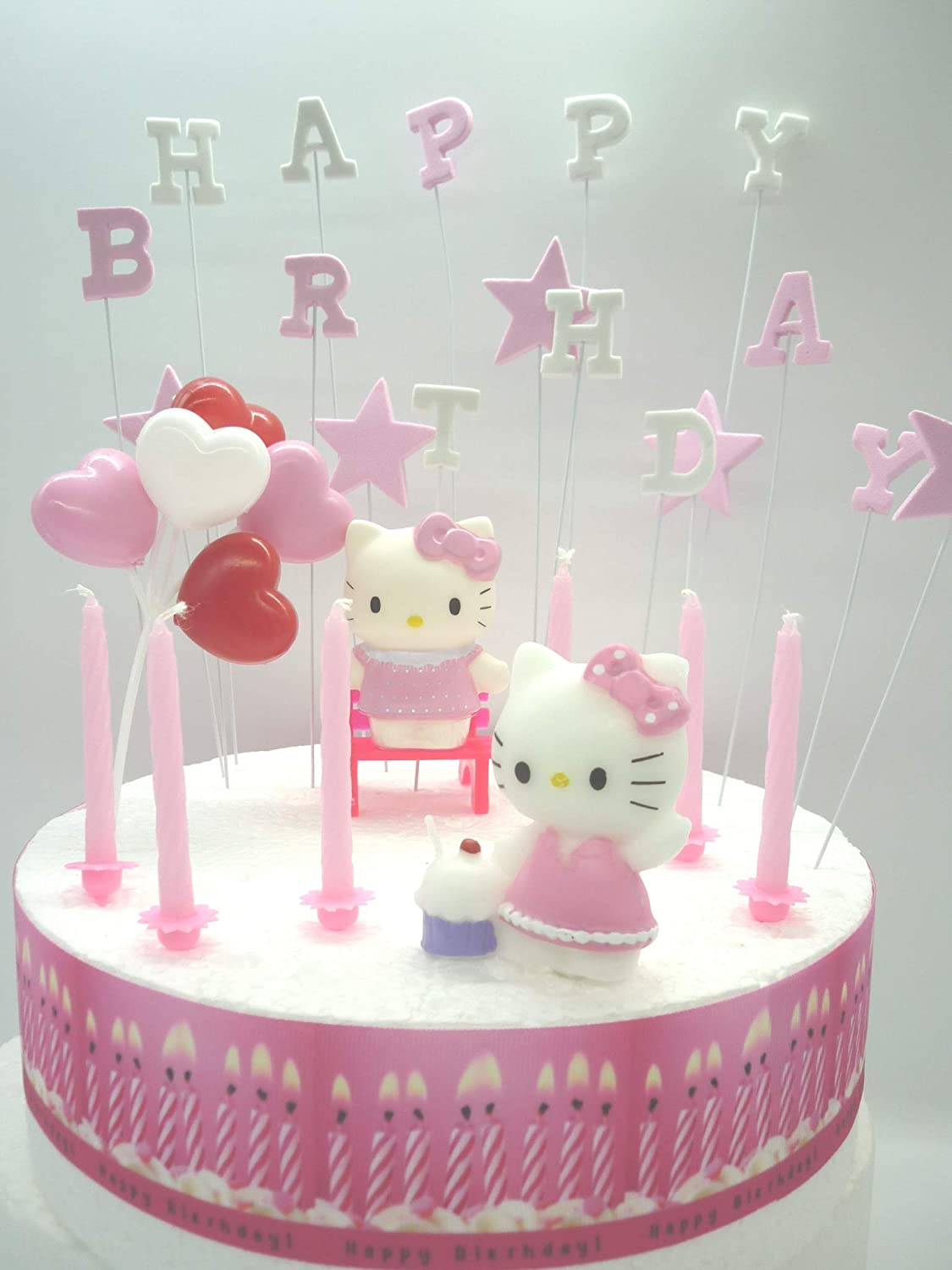 Fine Hello Kitty Birthday Cake Decoration Set Amazon Co Uk Kitchen Home Personalised Birthday Cards Paralily Jamesorg
