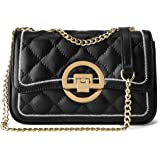 LAORENTOU Cow Leather Quilted Purses for Women Shoulder Bags with Chain Strap, Women's Small Satchel Handbags Black