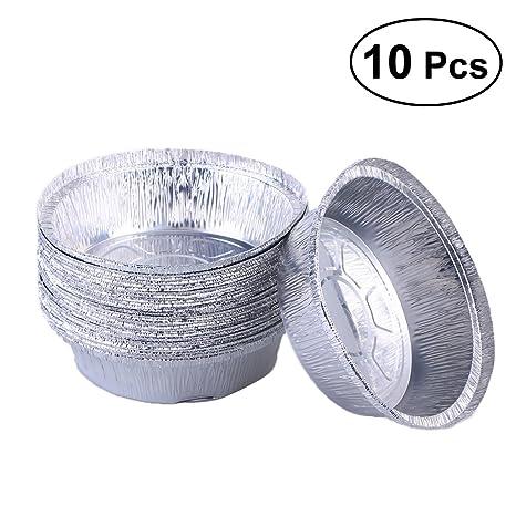 BESTONZON 10pcs Bandejas de aluminio desechables Bandejas de aluminio desechables Bandejas de aluminio de forma redonda