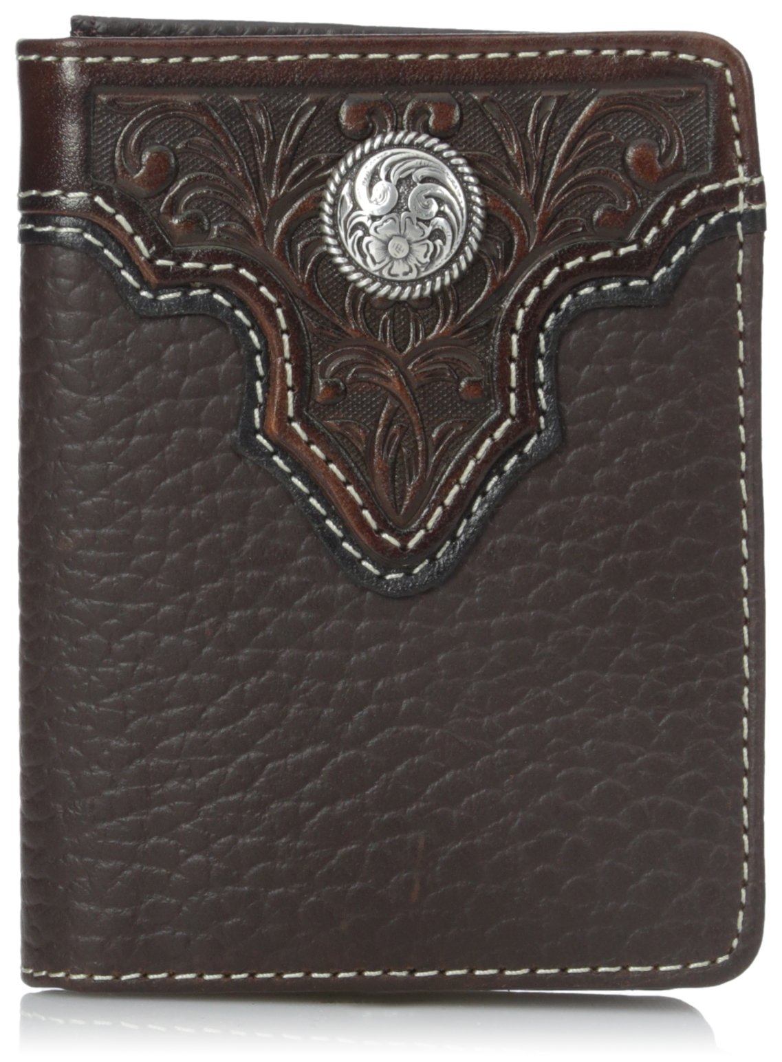 Ariat Men's Top Concho Overlay Bifold, Brown, One Size