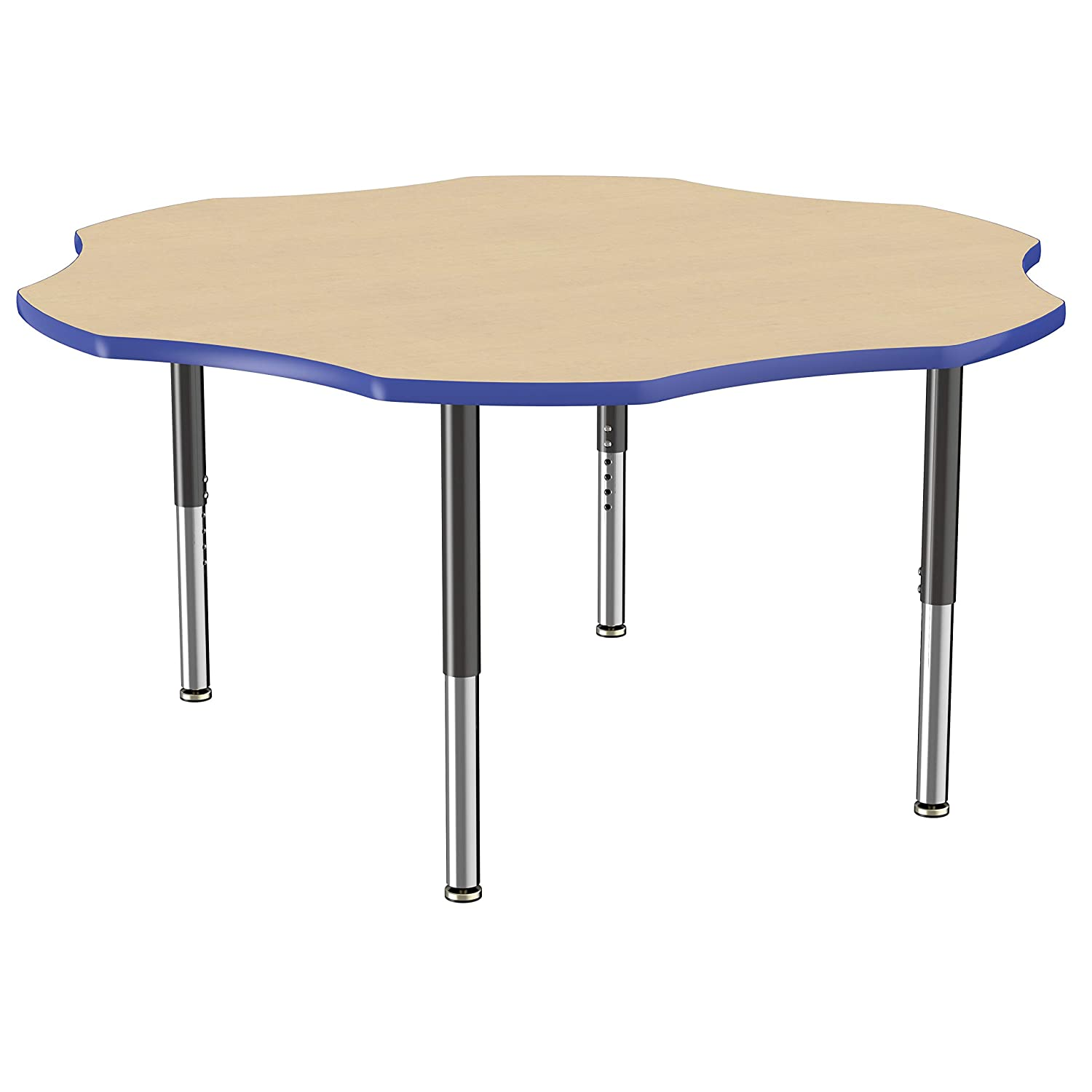 FDP Mobile Flower Activity School and Office Table (60 inch), Super Legs with Glides and Casters for Collaborative Seating Environments, Adjustable Height 19-30 inches - Maple Top and Blue Edge