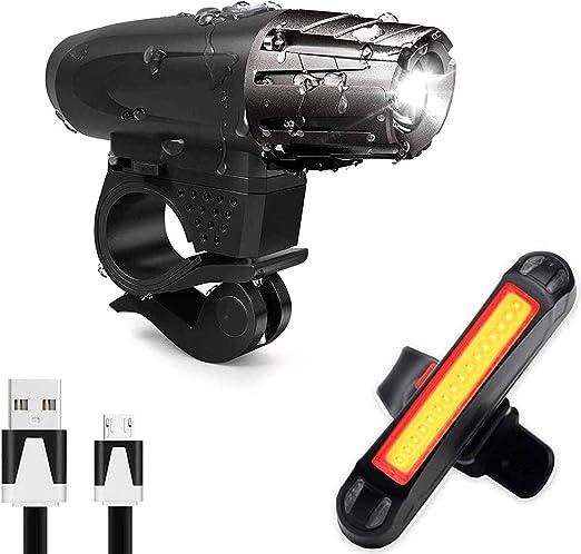 AMANKA Luce Bici, Luci LED per Bicicletta Ricaricabili USB Impermeabile, Super Luminoso Luce Bici Anteriore e Posteriore