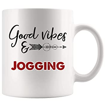 Amazon com: Good Vibes Jogging Mug Coffee Cup Tea Mugs Gift