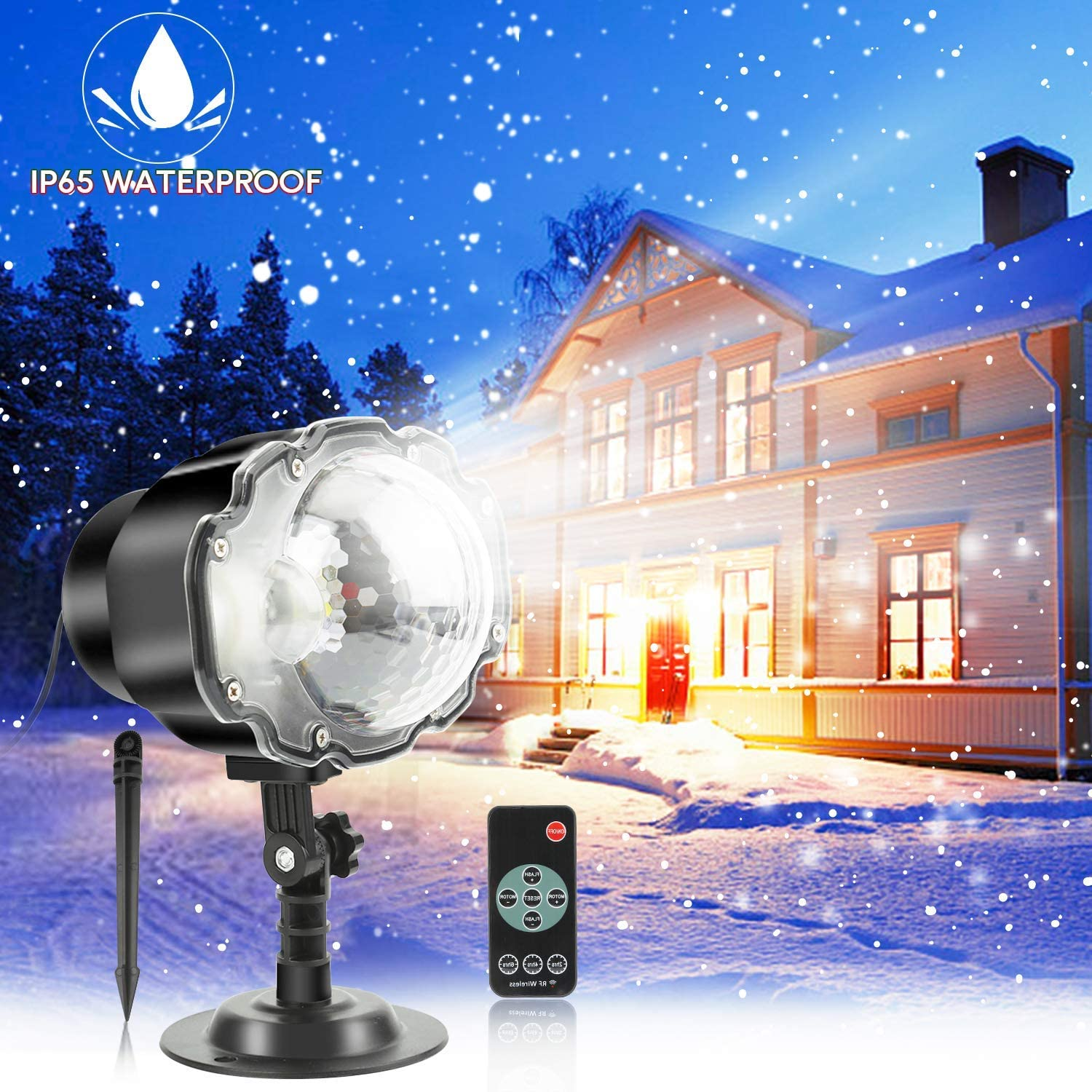 Christmas LED Snowfall Projector Lights Outdoor Remote Control Waterproof Rotatable White Snow for Halloween Holiday Party Wedding Garden Decorations