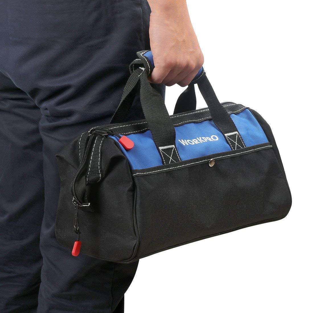 Workpro 13-Inch Tool Bag, Wide Mouth Tool Tote Bag mit Inside Pockets für Tool Storage