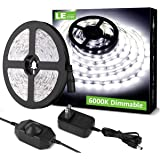 LE LED Strip Light White, 16.4ft Dimmable Vanity Lights, 6000K Super Bright LED Tape Lights, 300 LEDs SMD 2835, Strong 3M Adh
