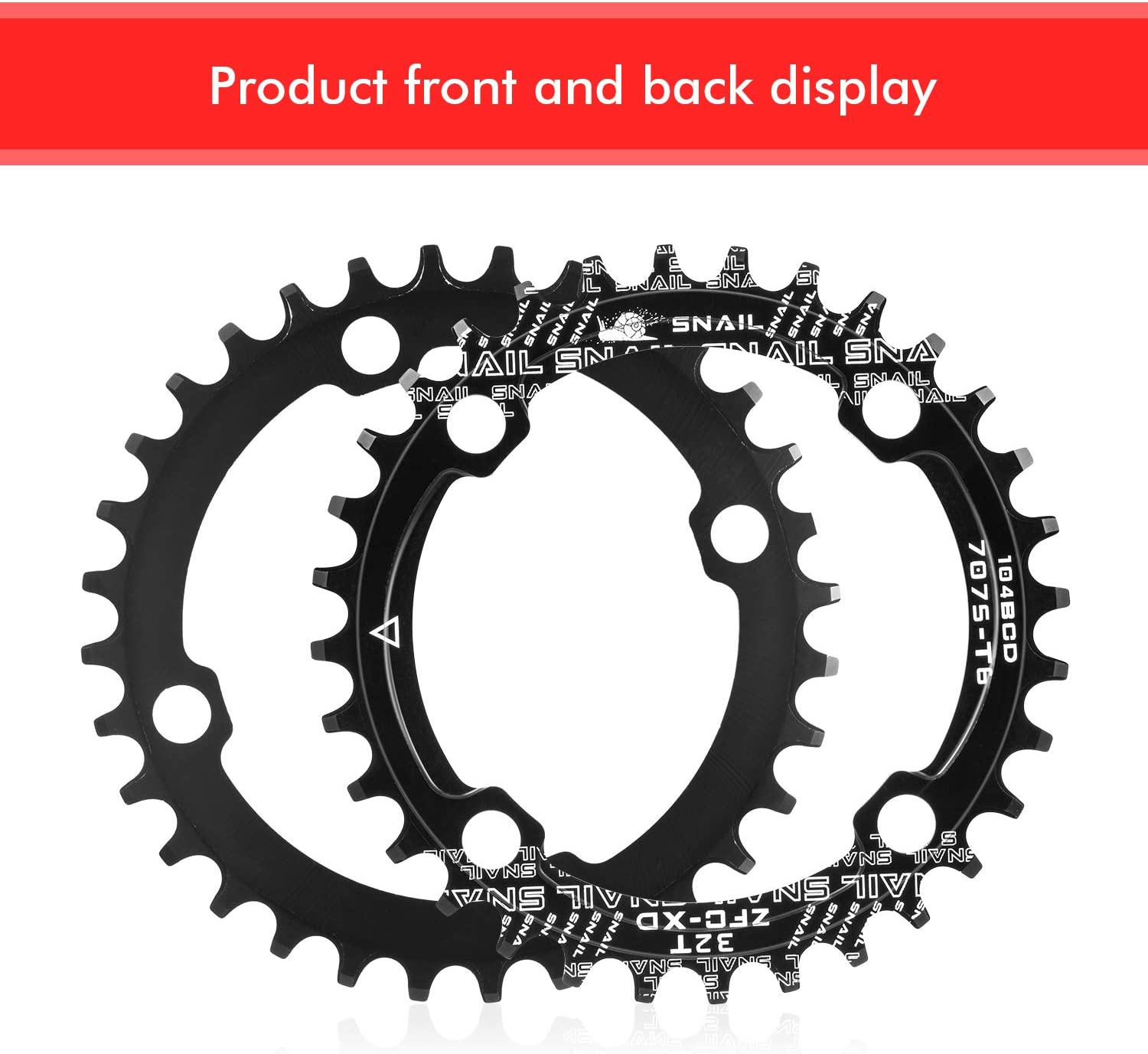 32T Chainring 104 BCD Narrow Wide Single Chain Ring with 4 Pieces Sprocket Bolts for Road Bikes Mountain Bikes Black