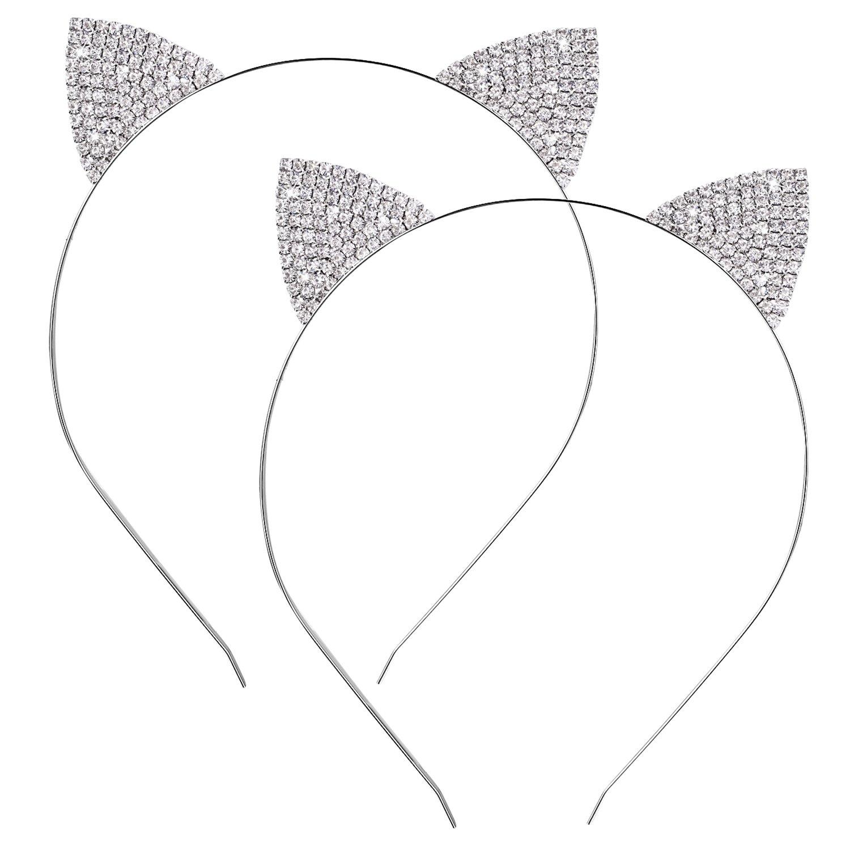 2 Pack Crystal Rhinestone Metal Cat Ear Headband Hair Bands Headwear for Women Girls Hair Accessories Hotop