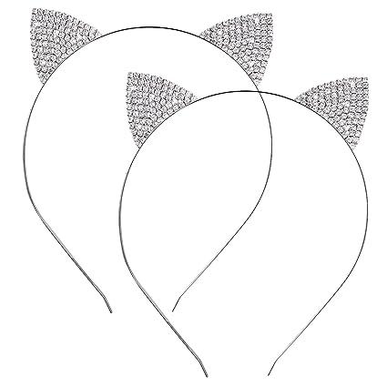 2 Piezas de Diadema de Orejas de Gato de Metal Diamante de Cristal Banda de Cabeza