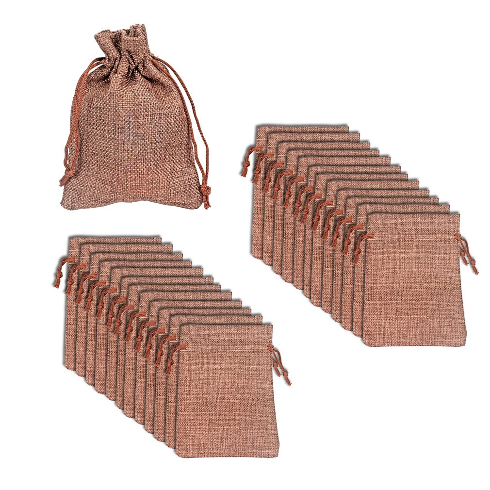 Amariver Natural Burlap Bags with Drawstring, Reusable Linen Pouches, Perfect for Jewelry Pouch, Wedding Birthday Parties Favor, Gift/Candy Bags, Set of 24 (Color 4)
