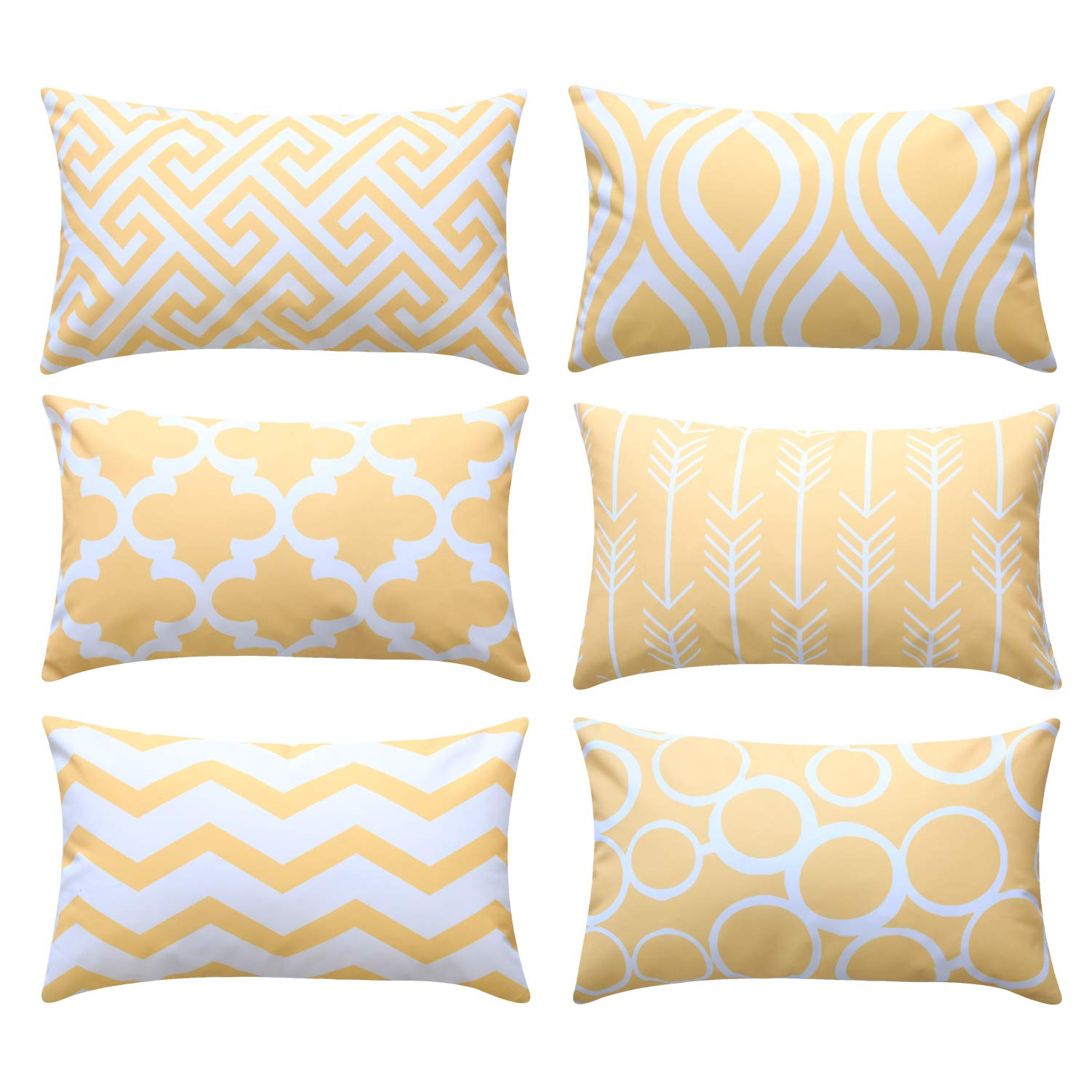Top Finel Decorative Throw Pillow Cases Durable Canvas Outdoor Cushion Covers 12 x 20 for Couch Sofa Bedroom Car, Pack of 6, Light Yellow