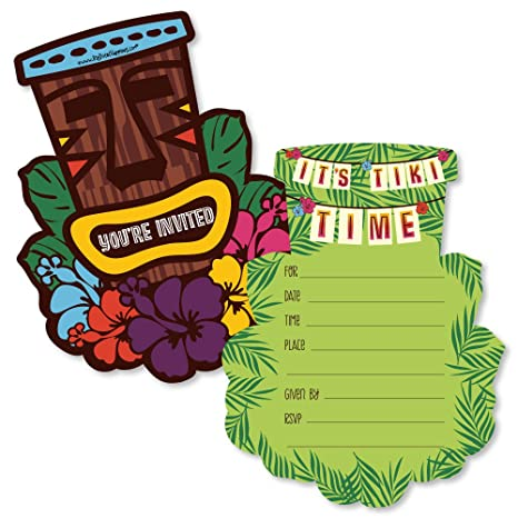 Tiki Luau Con Forma Fill In Tropical Hawaiian Verano