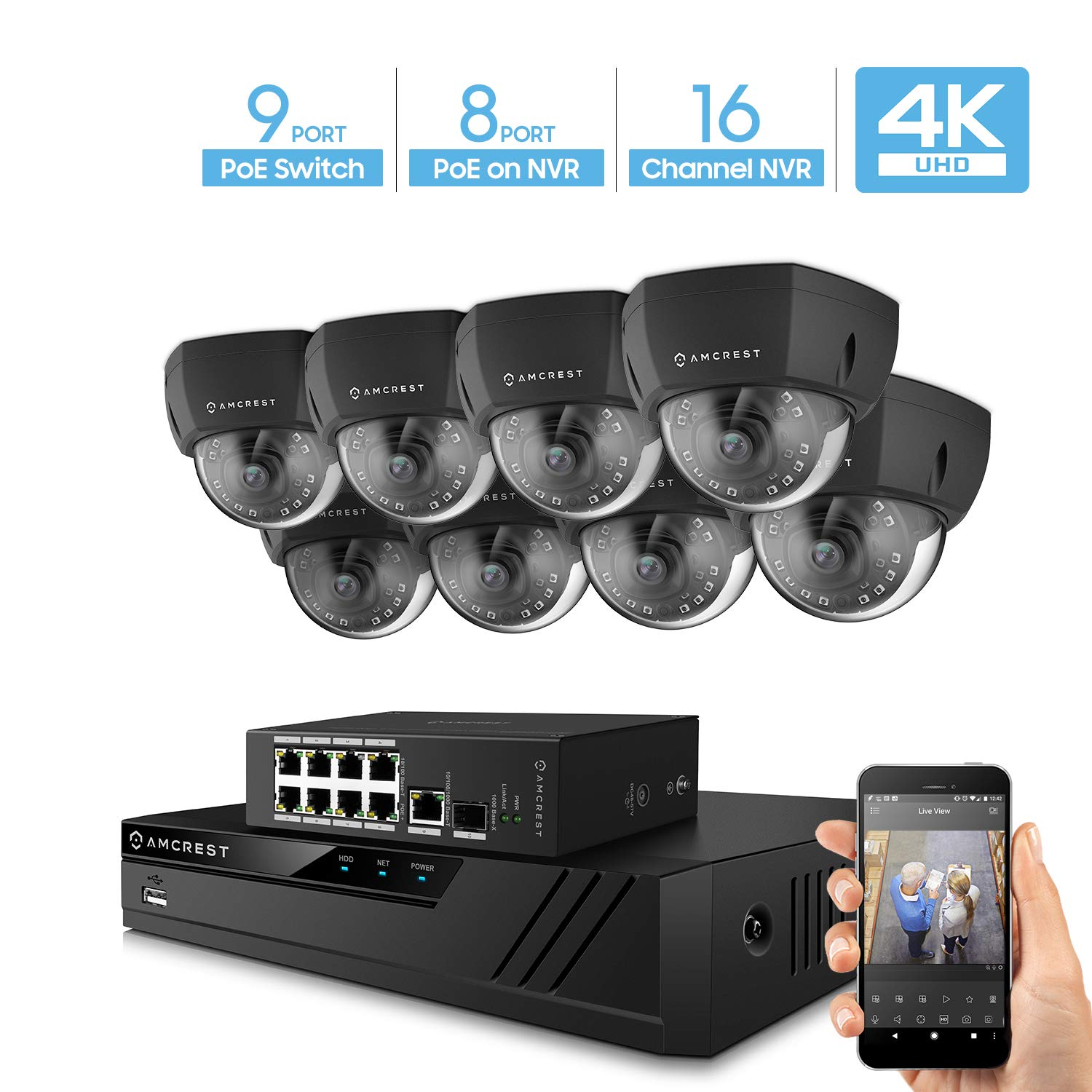 Amcrest 4K UltraHD Video Security Camera System w 4K 16CH PoE NVR, 8 x 4K Dome IP PoE Cameras, 9-Port PoE Switch w Gigabit Uplink, Hard Drive Not Included Supports up to 6TB Black
