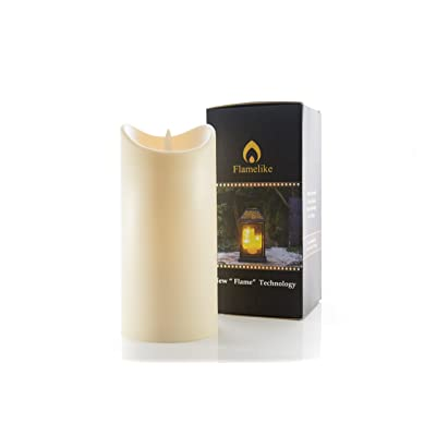 "Flamelike Candles 7"" Flameless Candle - LED Dripless Flickering Fake Candle for Indoors & Outdoors - Non-Wax Odorless Pillar Candles with Timer Function & Battery Operated. 3.5 x 7"" Ivory.: Home Improvement"