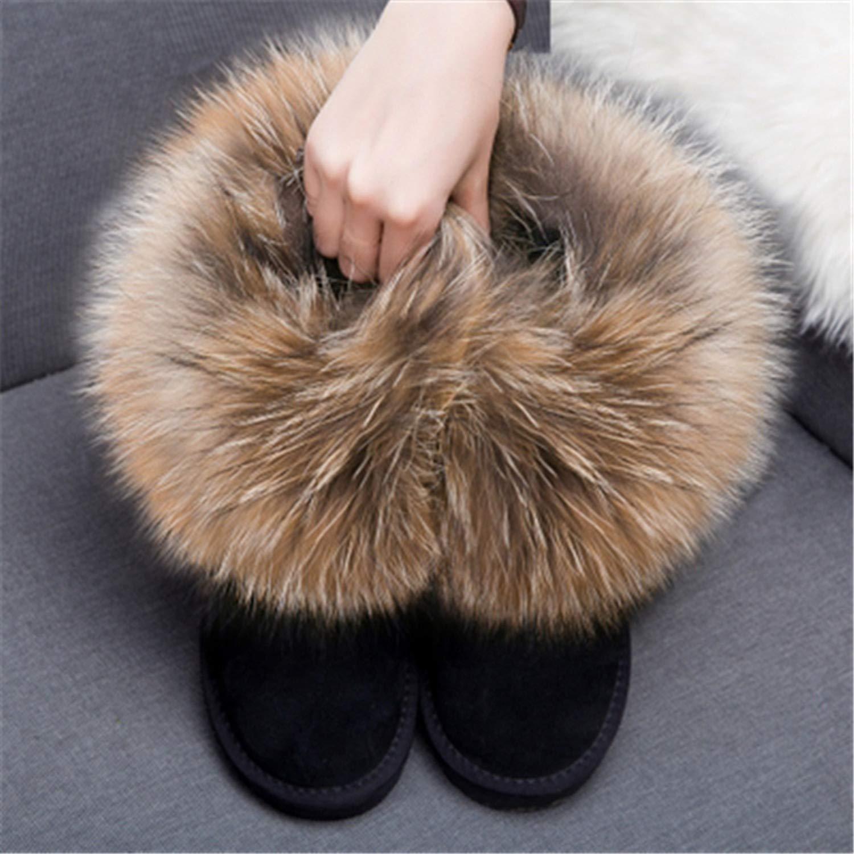 Good-Memories Natural Big Fox Fur Snow Boots Women Winter Nubuck Leather Snow Boots